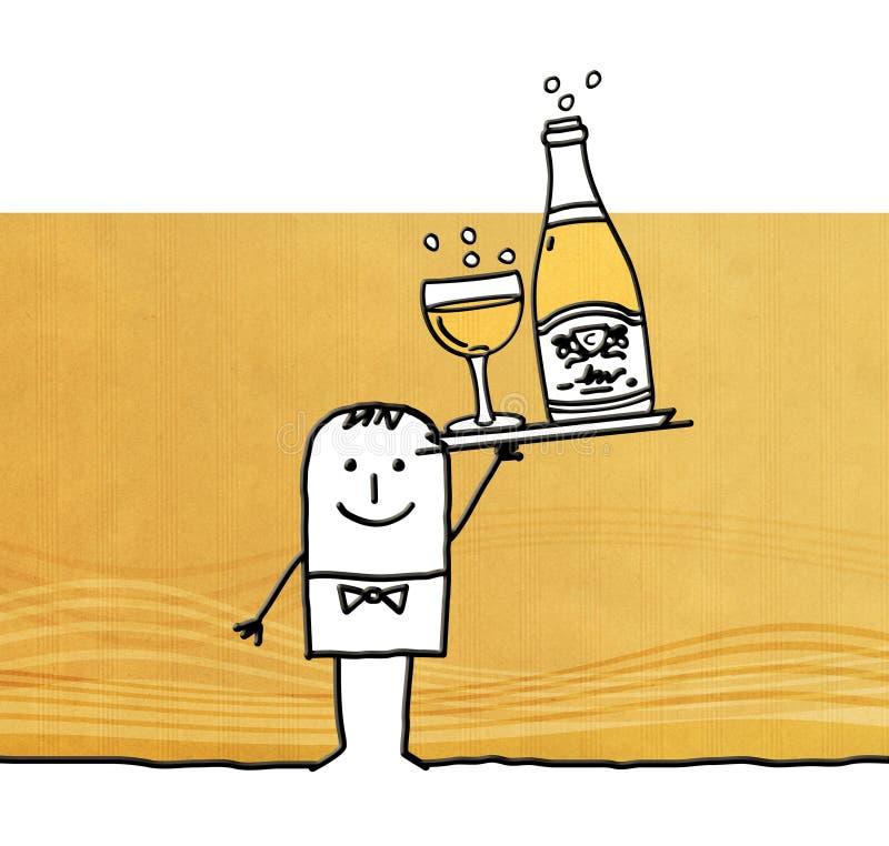 Kreskówka kelner z butelką szampan royalty ilustracja