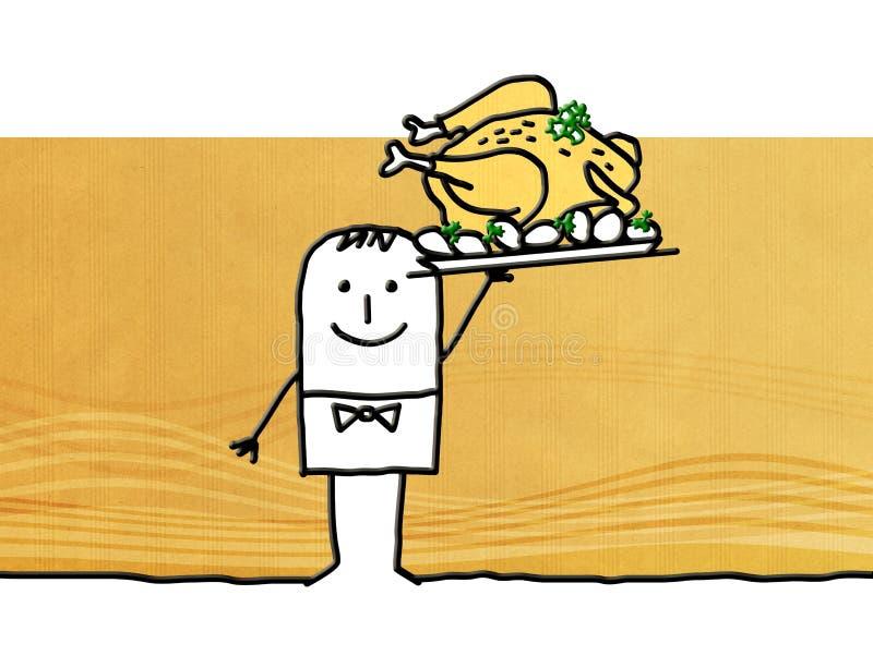 Kreskówka kelner z piec kurczakiem ilustracji