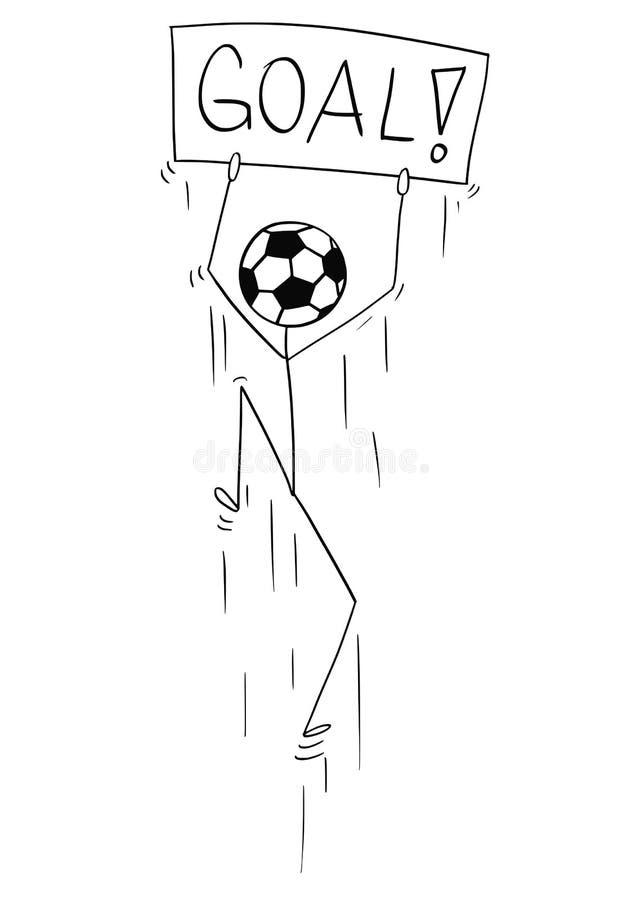 Kreskówka kija mężczyzna charakter Z futbolu, piłki nożnej piłką jako lub cel ilustracji
