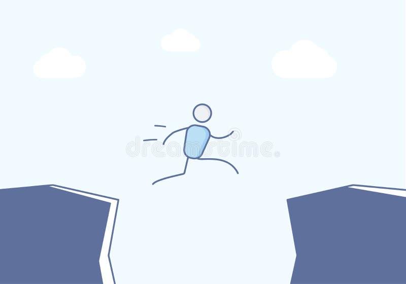 Kreskówka kija postaci doskakiwanie między falezami Wektorowa ilustracja dla różnych pojęć lubi brać szansę, ryzyko i sukces, royalty ilustracja