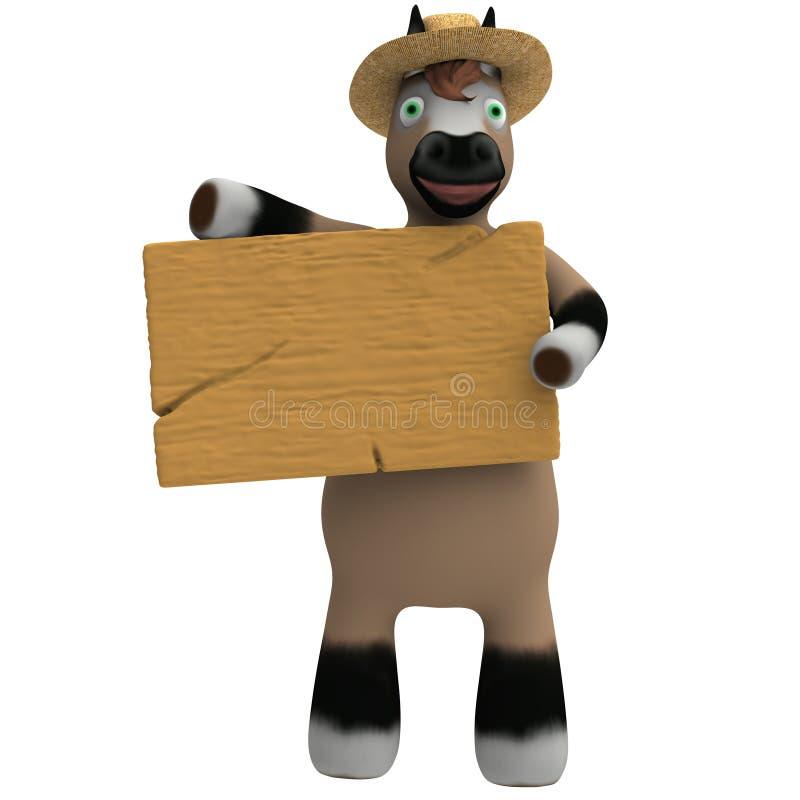 Kreskówka koń trzyma plakietę obrazy stock