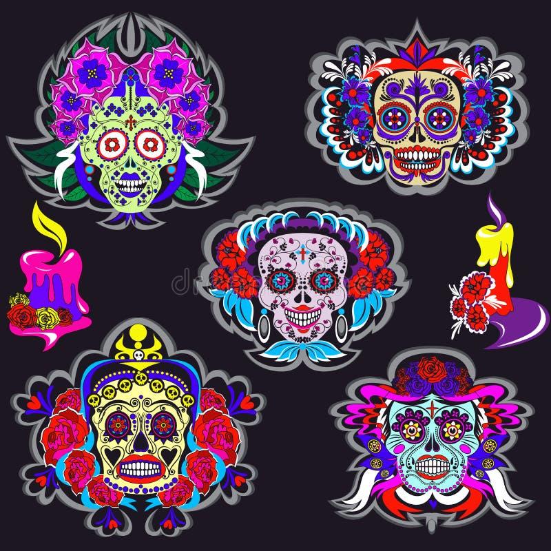 Kreskówka koścowie z kwiecistymi Meksyk ornamentami ustawiającymi ilustracja wektor
