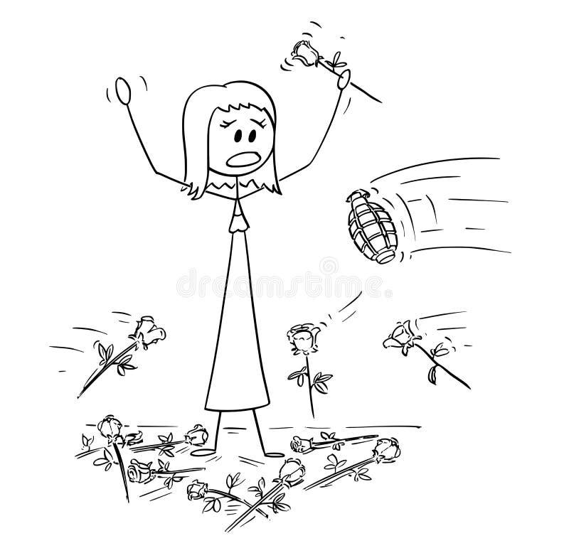 Kreskówka kobieta na scenie Która jest Atakującym granatem Od widowni ręcznie Podczas owacji na stojąco royalty ilustracja
