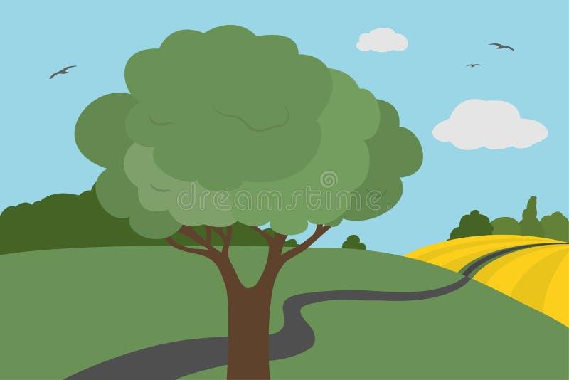 Kreskówka kolorowy widok łąki i pole wokoło drogi z krzakami i drzewem z liśćmi pod jasnym niebem z chmurami i flyi ilustracji