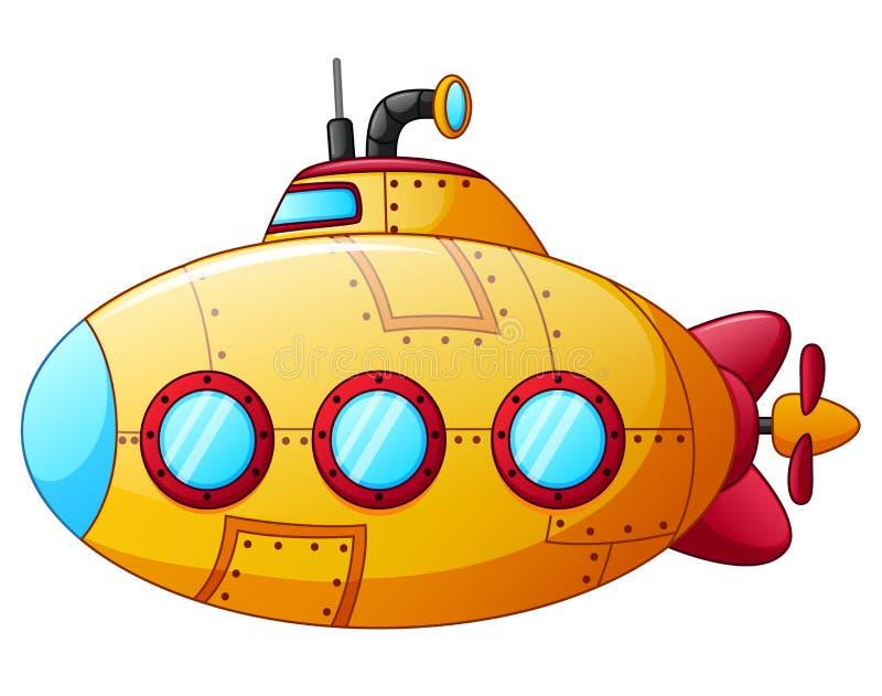 Kreskówka koloru żółtego łódź podwodna ilustracja wektor