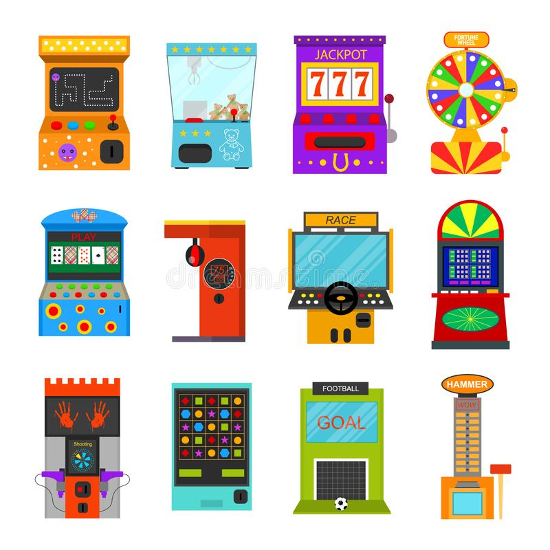 Kreskówka koloru Gemowej maszyny ikony set wektor ilustracja wektor