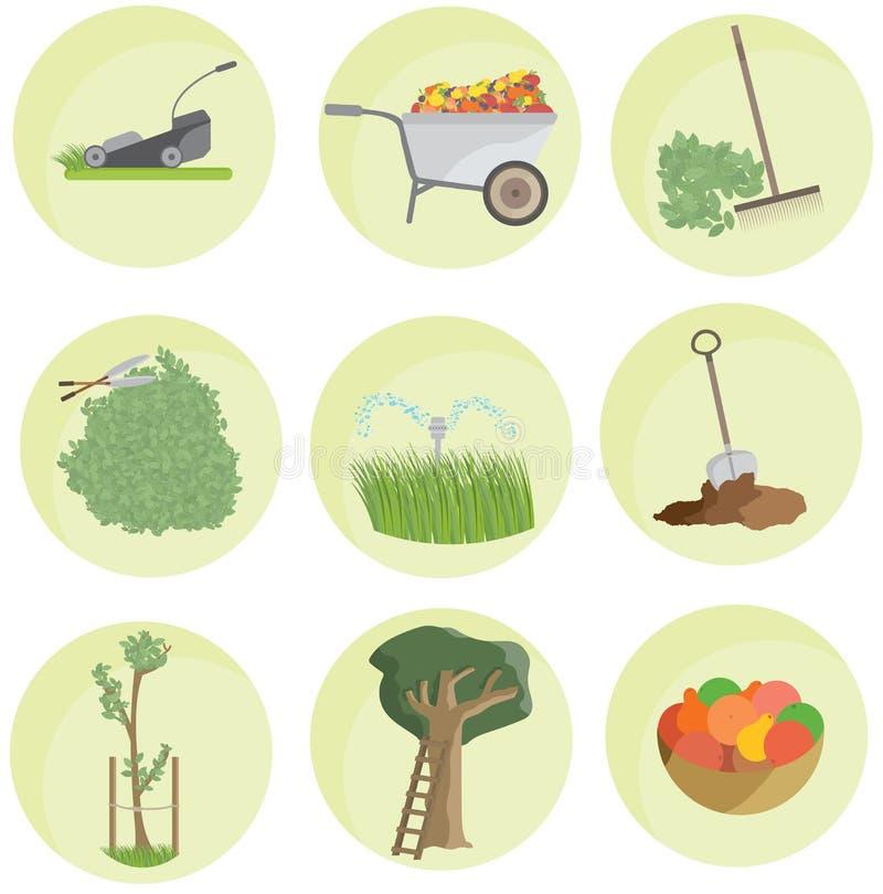 Kreskówka koloru ogródu ikony paczki krajobrazu ustalony mieszkanie śmieszny zdjęcie royalty free