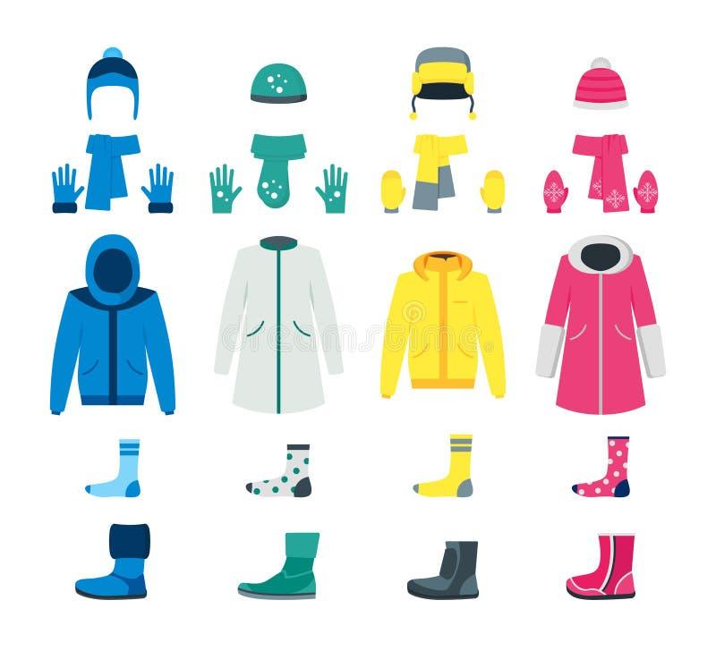 Kreskówka koloru zimy ikony Odzieżowy set wektor ilustracja wektor