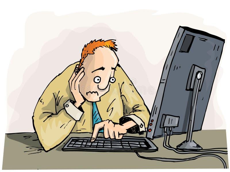kreskówka koncern jego mężczyzna monitoru target1735_0_ royalty ilustracja