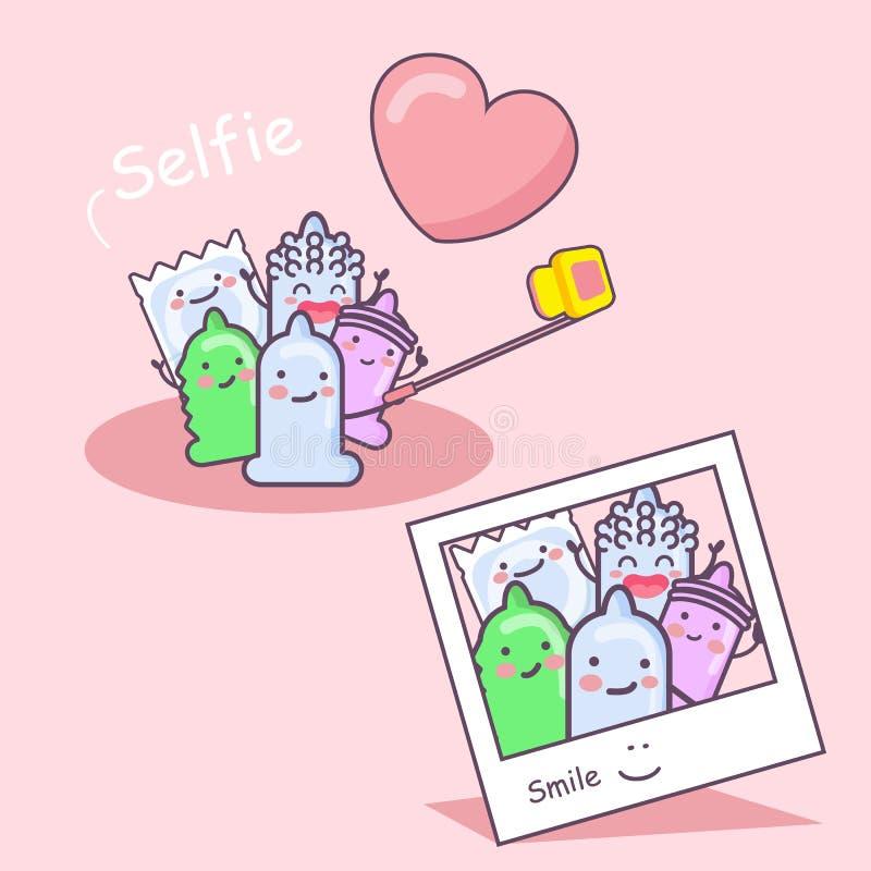 Kreskówka kondoma przyjaciół selfie royalty ilustracja
