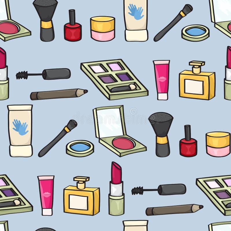 Kreskówka kosmetyków Bezszwowy tło ilustracji