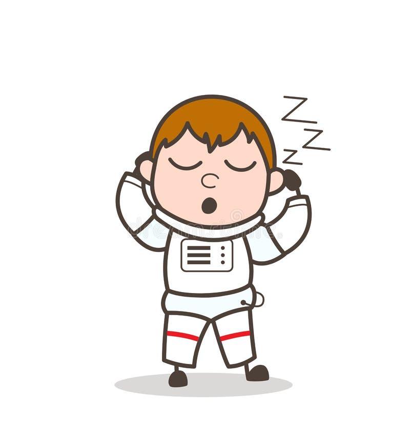 Kreskówka kosmonauta Zmęczony dosypianie i Chrapa Wektorowa ilustracja ilustracji