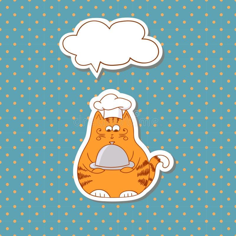 Kreskówka kota kucharz z bąbel mową na kropki tle ilustracji