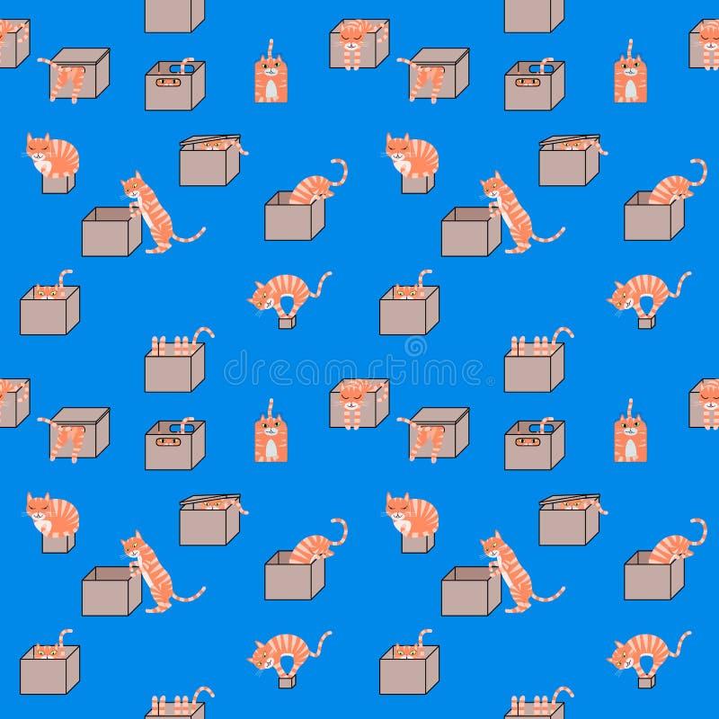 Kreskówka koty w pudełko bezszwowym wzorze ilustracja wektor