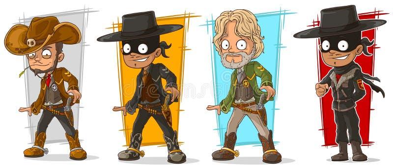 Kreskówka kowboja i szeryfa charakteru wektoru set ilustracja wektor
