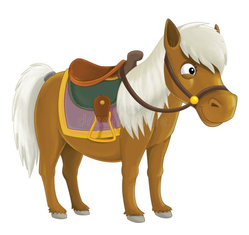 Kreskówka kowbojski koń - ilustracja dla dzieci royalty ilustracja
