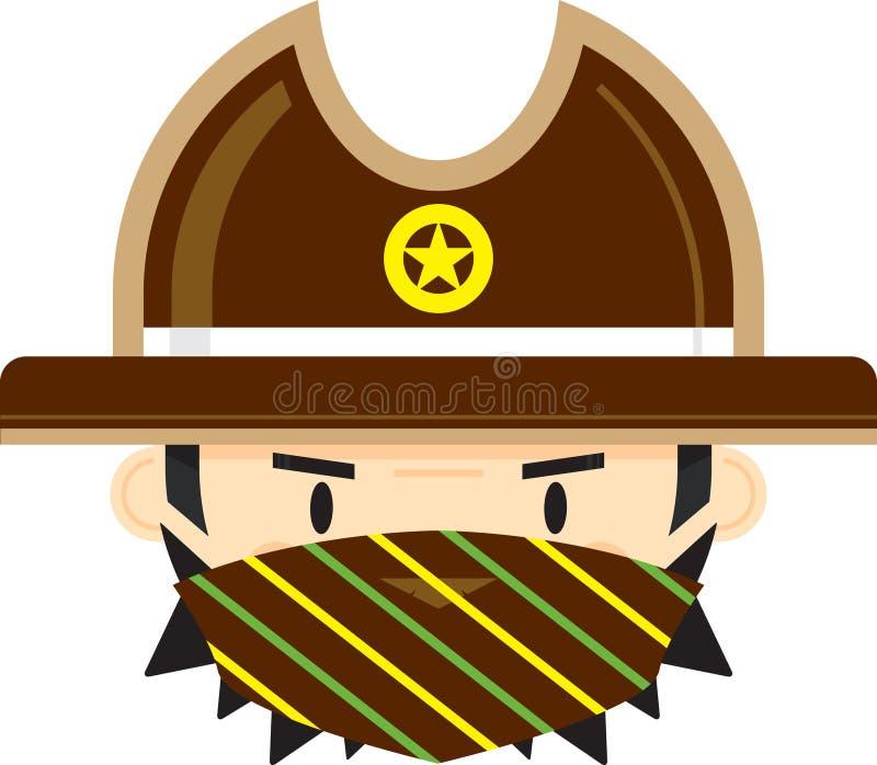Kreskówka Kowbojski szeryf w masce ilustracji