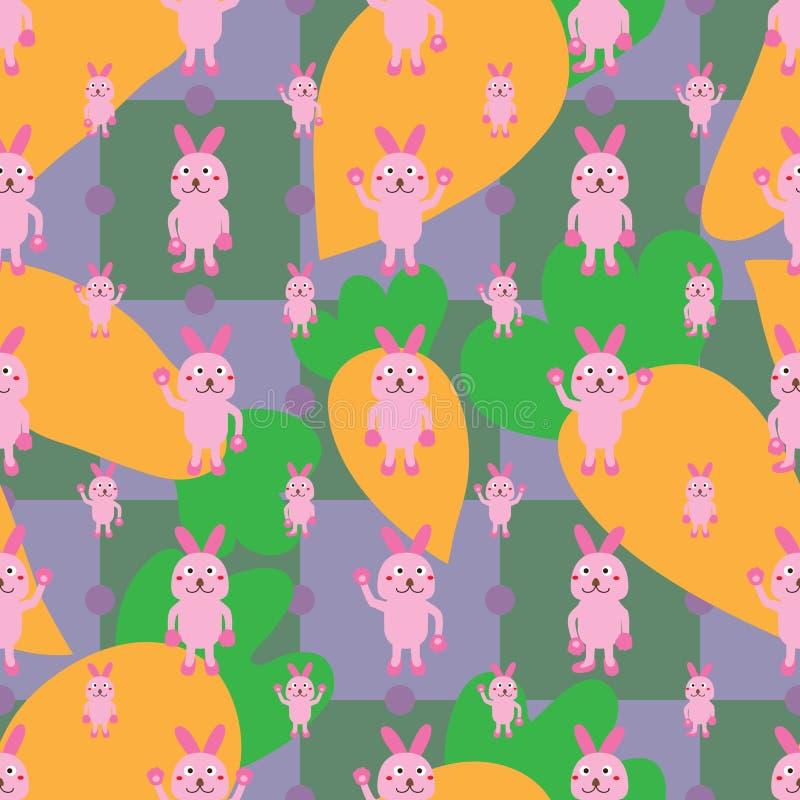 Kreskówka królika symetrii marchwiany bezszwowy wzór royalty ilustracja