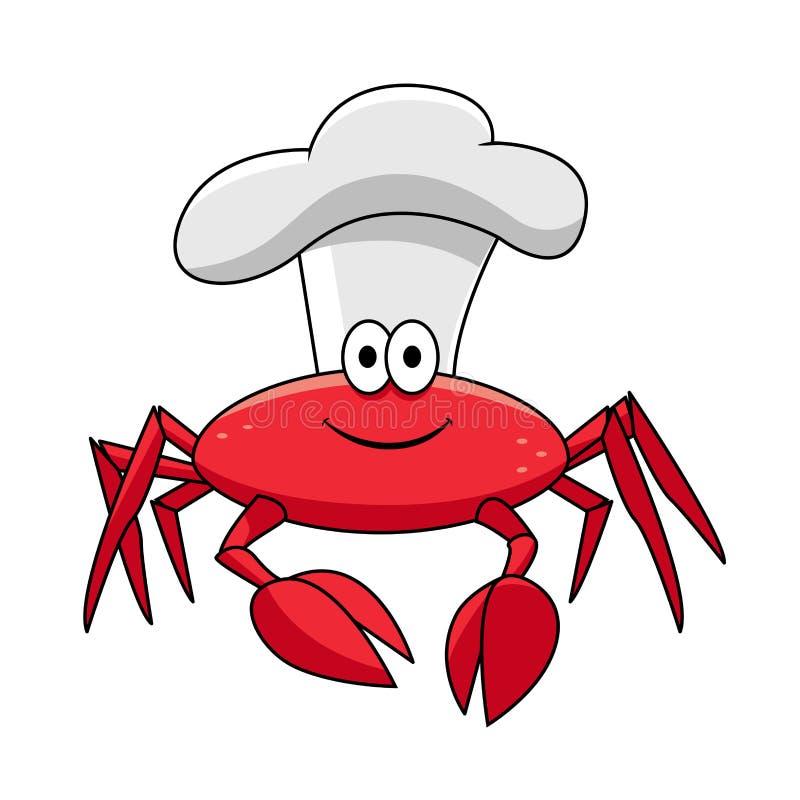 Kreskówka kraba uśmiechnięty szef kuchni w bielu kucharza kapeluszu ilustracji