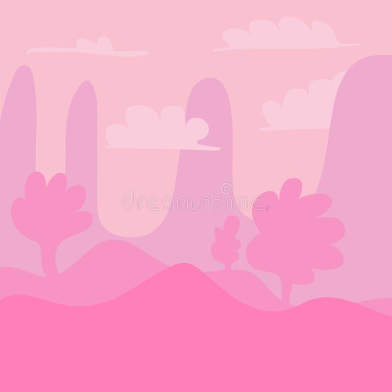 Kreskówka krajobraz dla gemowego projekta, natury tło ilustracji