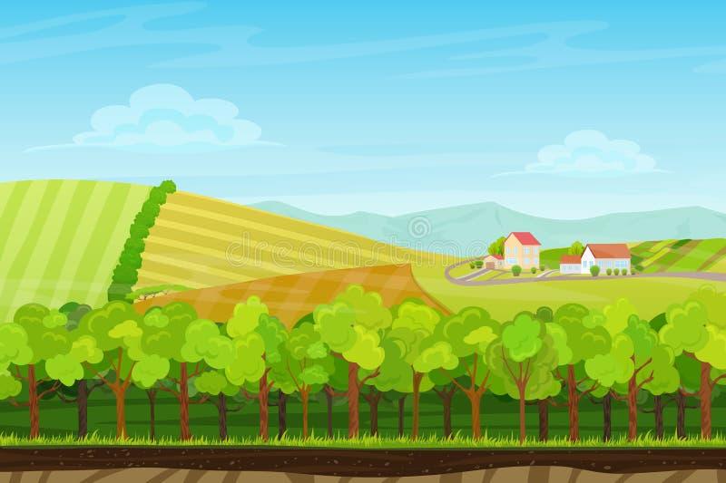 Kreskówka krajobraz z lasowym drewnem, górami i wzgórzami z rolnymi wioska domami, royalty ilustracja