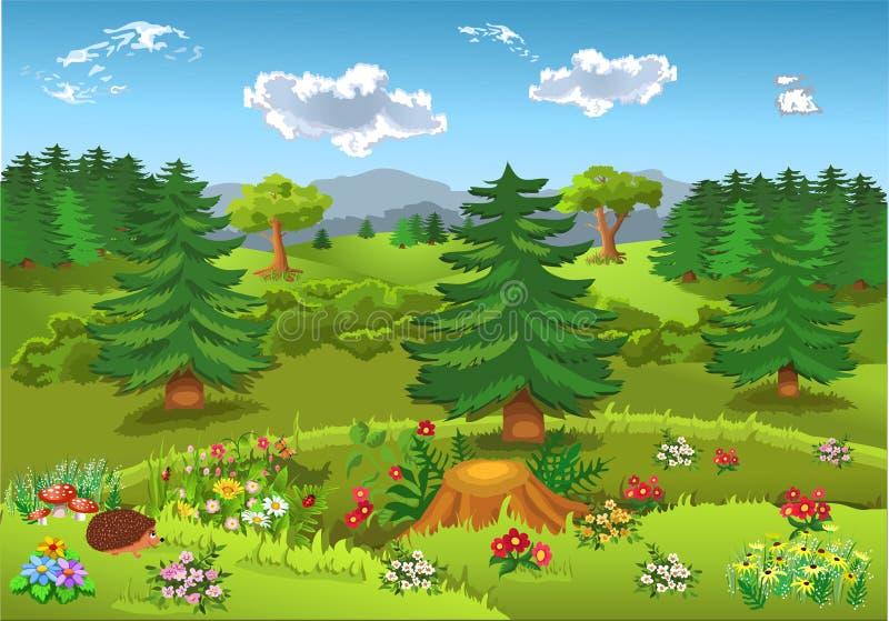 Kreskówka krajobraz z wzgórzami, górami, lasami, kwiatami i jedlinowymi drzewami, ilustracja wektor