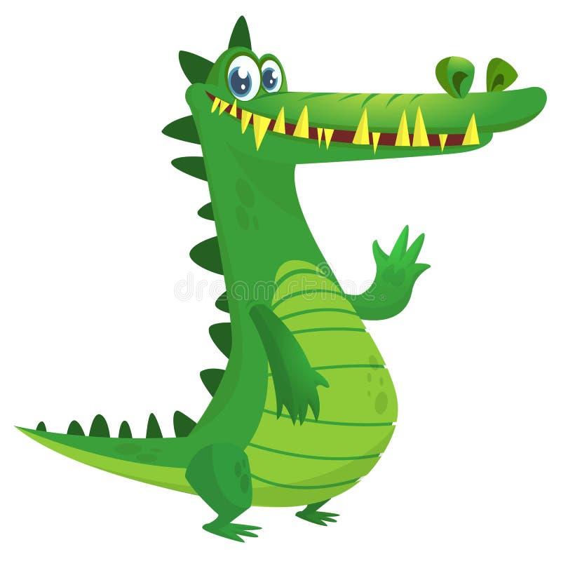 Kreskówka krokodyl Wektoru odosobniony zielony dinosaur ilustracji