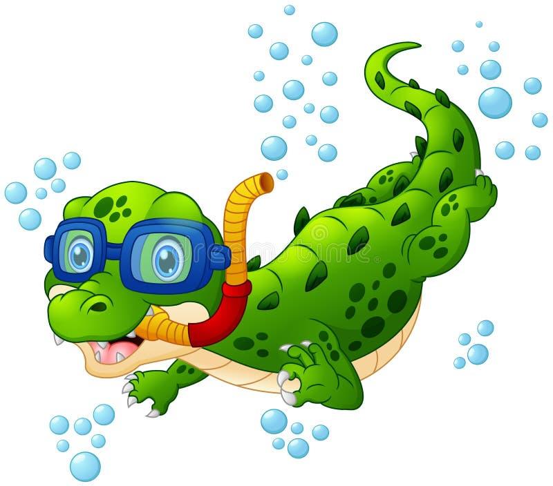 Kreskówka krokodyla nurek ilustracji