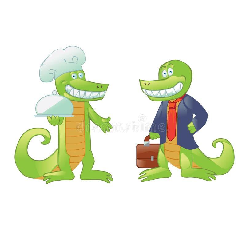 Kreskówka krokodyle kucharz i biznesmen ilustracji