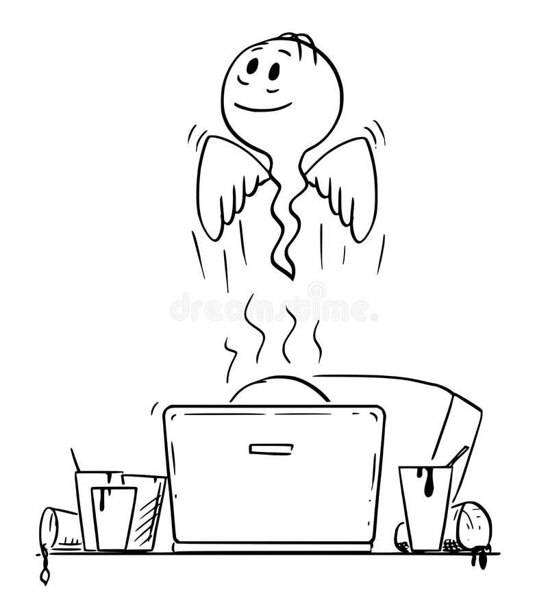 Kreskówka Która Umierał Podczas gdy Pracujący na komputerze mężczyzna lub biznesmen ilustracji