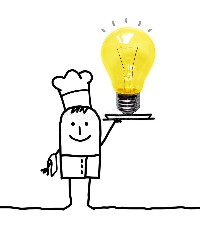 Kreskówka Kucbarski szef kuchni z dużą żarówką w tacy ilustracja wektor