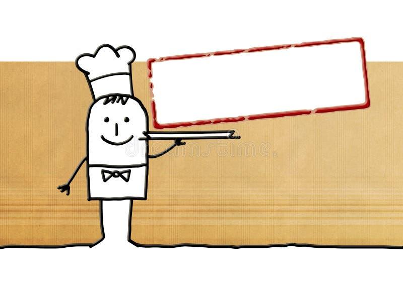 Kreskówka kucbarski szef kuchni z pustą etykietką royalty ilustracja