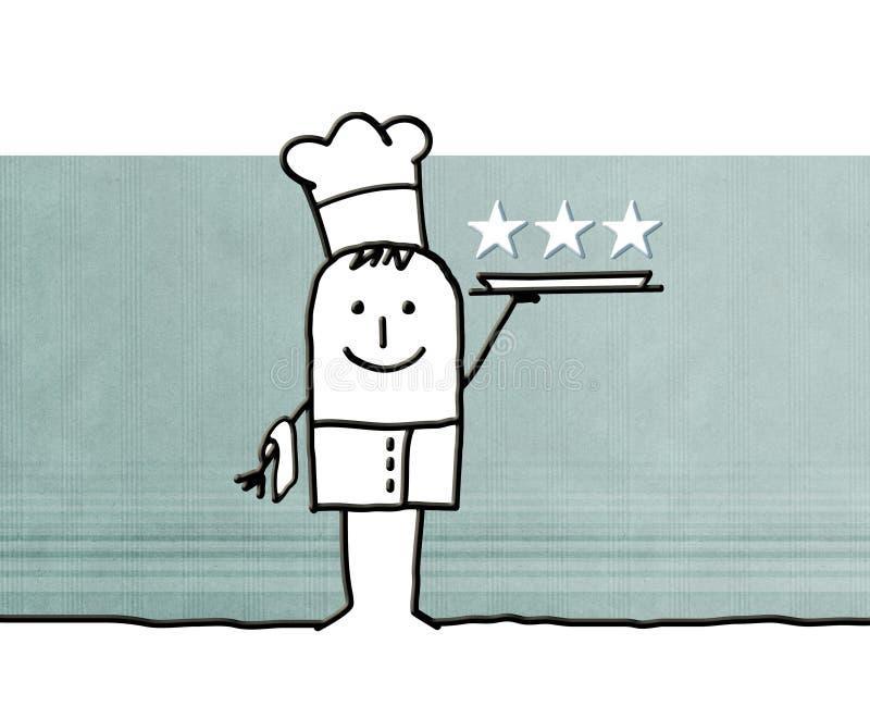 Kreskówka kucbarski szef kuchni z tacą i trzy gwiazdami royalty ilustracja