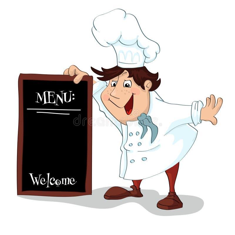 Kreskówka kucharz z menu znakiem royalty ilustracja