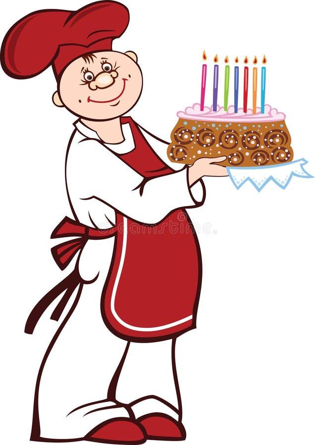 Kreskówka kucharz z urodzinowym tortem ilustracja wektor
