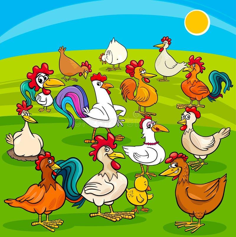 Kreskówka kurczaków zwierząt gospodarskich grupa royalty ilustracja