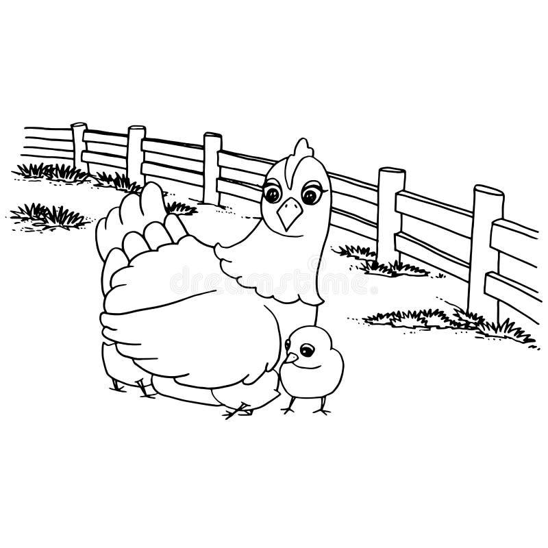 Kreskówka kurczaka kolorystyki strony wektor royalty ilustracja