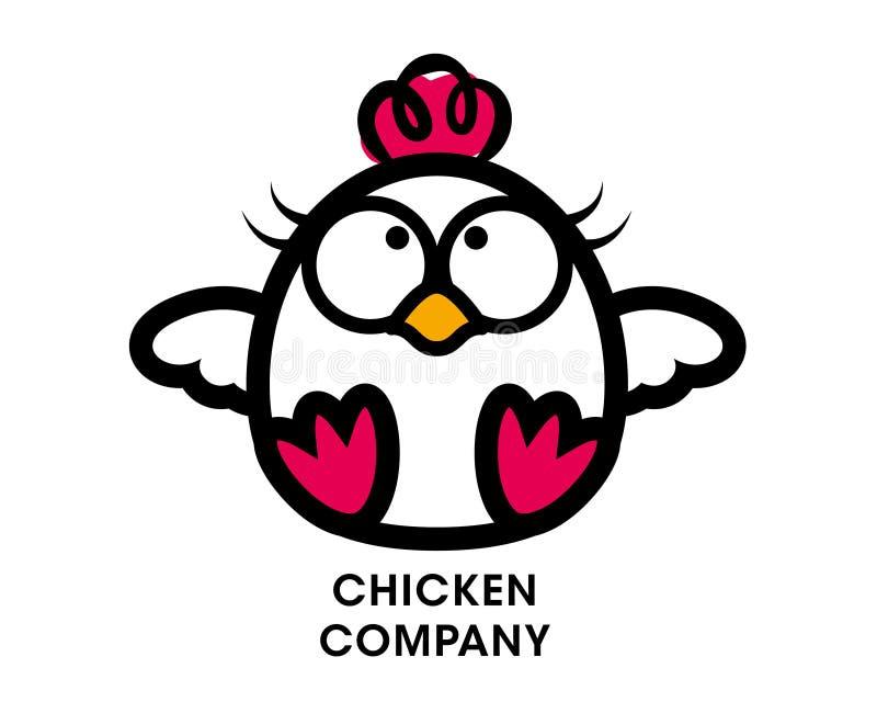 Kreskówka kurczaka maskotki ślicznego charakteru karmowy restauracyjny logo - wektor royalty ilustracja
