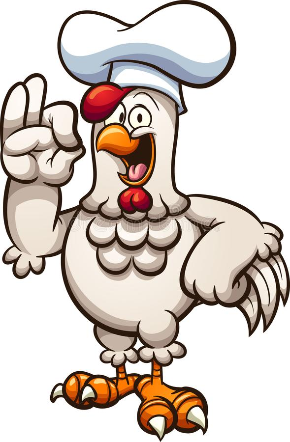 Kreskówka kurczaka szef kuchni robi wyśmienicie ręce podpisywać ilustracja wektor