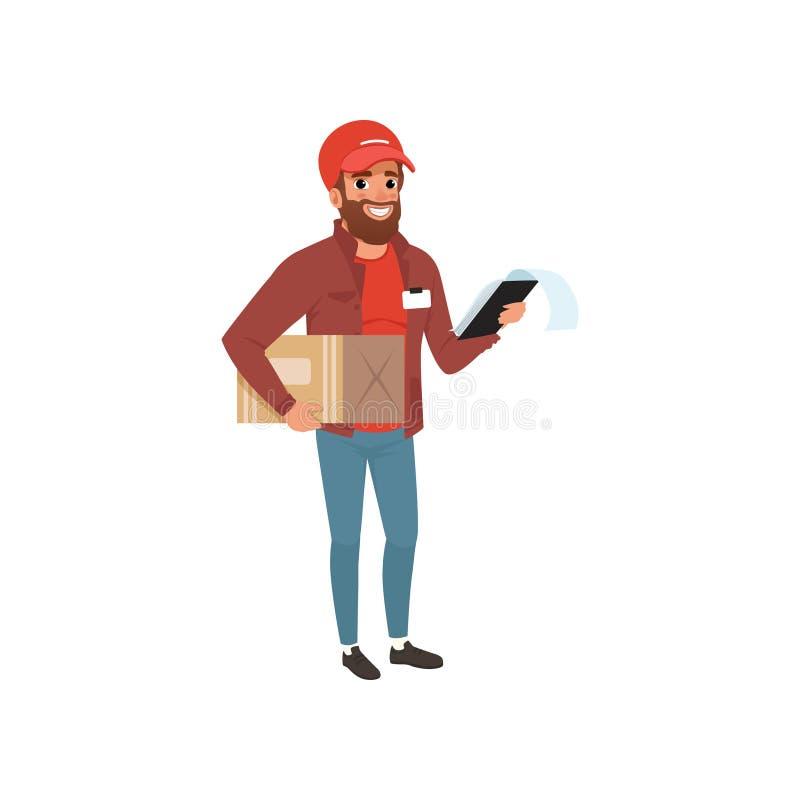 Kreskówka kuriera mienia klamerki i pakunku kartonowa deska w rękach Brodaty doręczeniowego mężczyzna charakter w jednolitej czer ilustracji