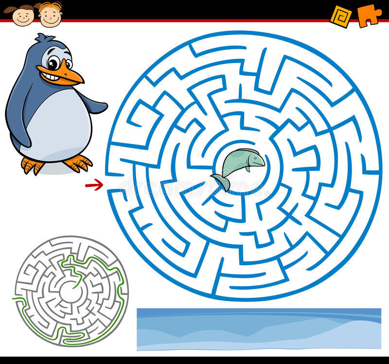 Kreskówka labirynt lub labitynt gra ilustracja wektor
