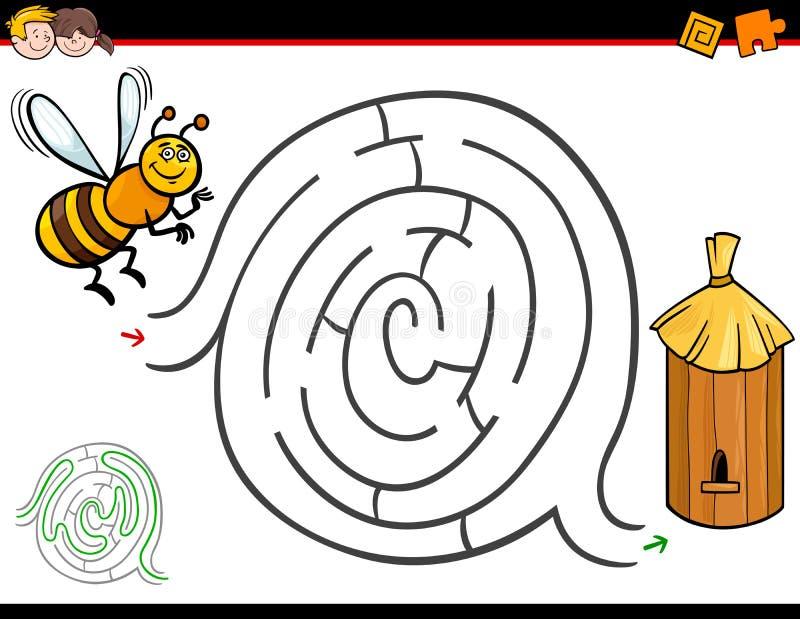 Kreskówka labiryntu aktywność z pszczołą i rojem royalty ilustracja