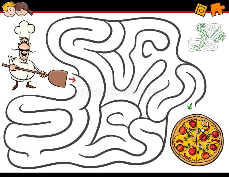 Kreskówka labiryntu aktywność z szefem kuchni i pizzą ilustracji