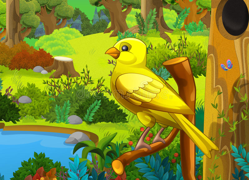 Kreskówka las i ptak na gałąź - scena dla różnych bajek ilustracji