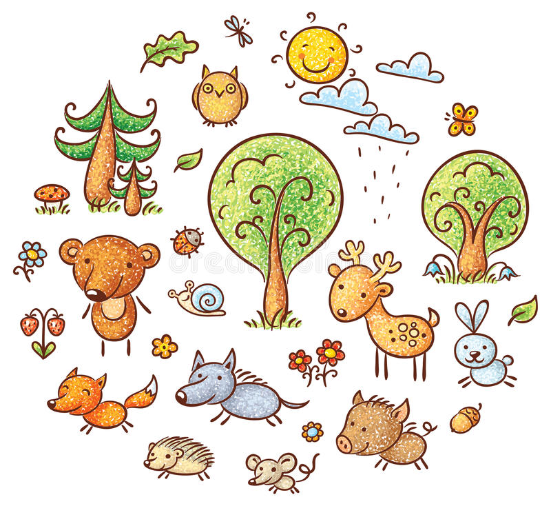 Kreskówka lasu set royalty ilustracja