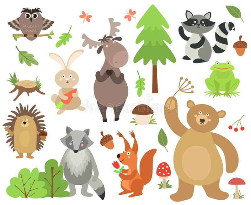 Kreskówka lasu zwierzęta Łoś sowy wiewiórki niedźwiedzia jeża zajęcza szopowa żaba Lasu zwierzęcy wektor odizolowywający royalty ilustracja