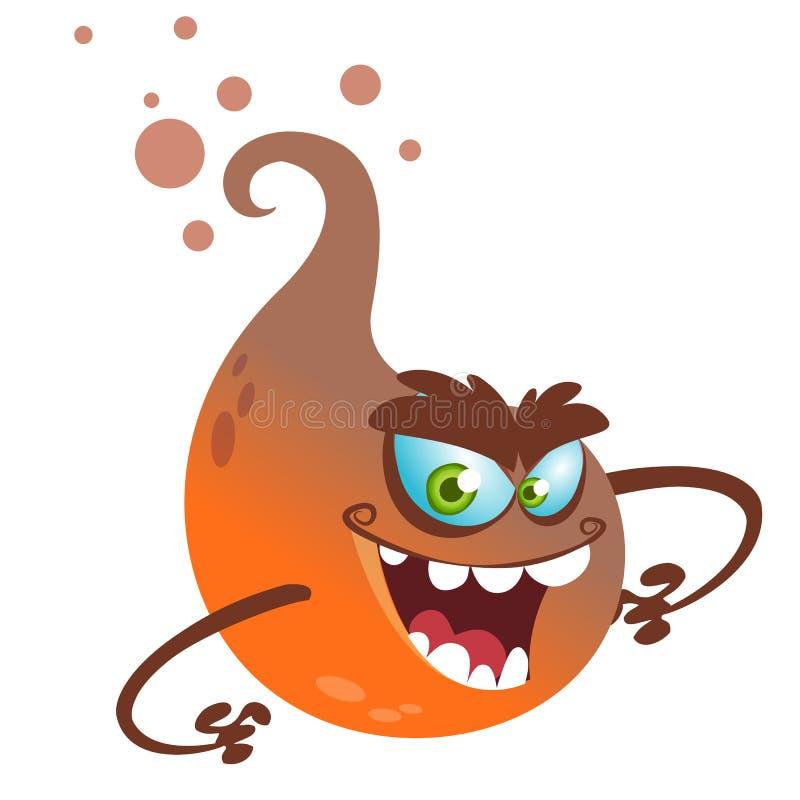 Kreskówka latający potwór Wektorowa Halloweenowa ilustracja uśmiechnięty pomarańczowy duch z łapami atakuje ilustracji