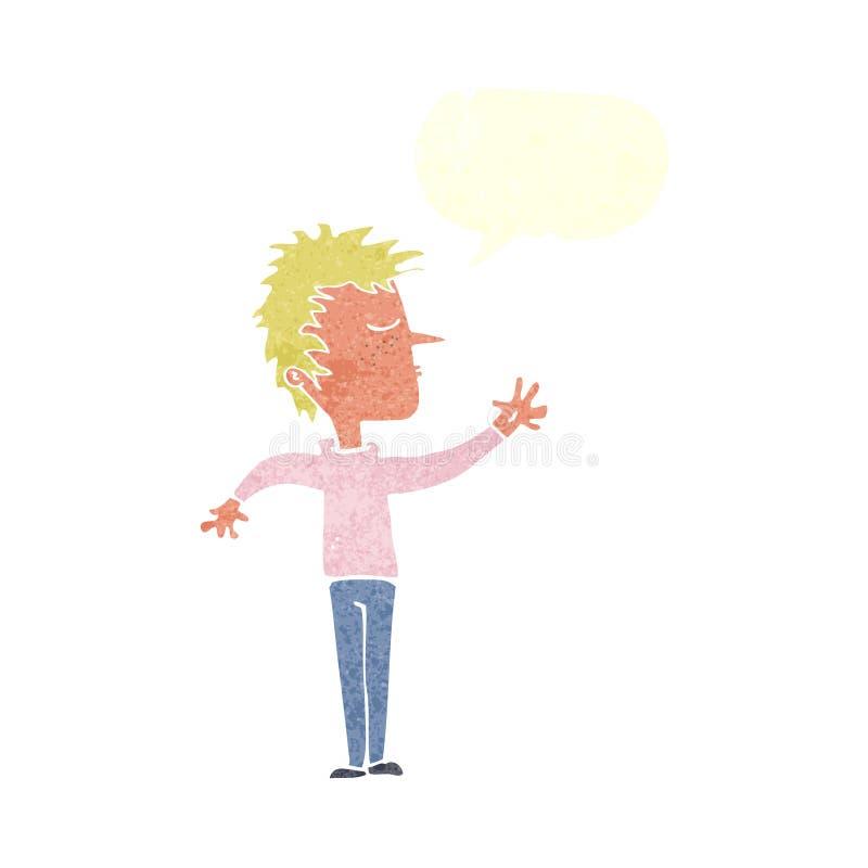 kreskówka lekceważący mężczyzna z mowa bąblem royalty ilustracja