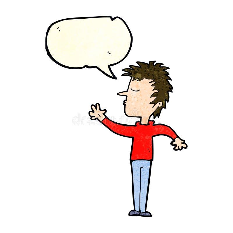 kreskówka lekceważący mężczyzna z mowa bąblem ilustracja wektor
