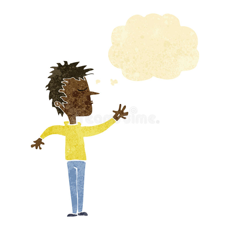 kreskówka lekceważący mężczyzna z myśl bąblem ilustracji